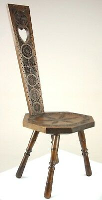 Antique Spinning Chair, Hall Chair, Carved Walnut Chair, Scotland 1880, B1308A