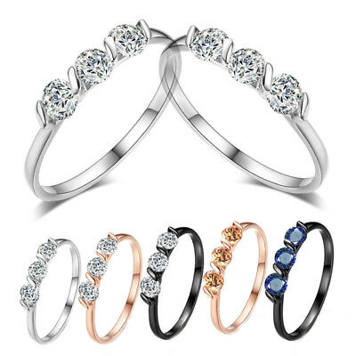 Graceful Crystal Simple Zircon Engagement Classic Fashion Jewelry Ring Women 1PC