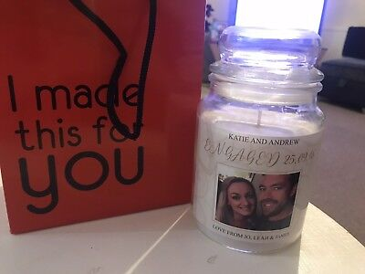 Personalised Candle Gift Wedding Christening Christmas Birthday Engaged Friends