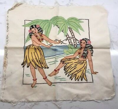 Vintage Hula Girl Pillow Form The Embroidery And Painting Are All Done So Cute