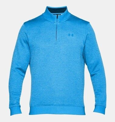 NWT Under Armour Mens Storm SweaterFleece Patterned ¼ Zip Teal Blue 1303994 2XL