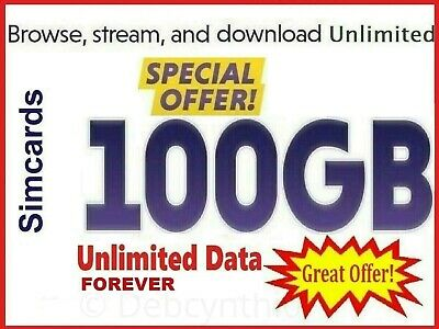 100GB Unlimited Data Mobile phone Pay as you go 3in1 sim card Free Data for life