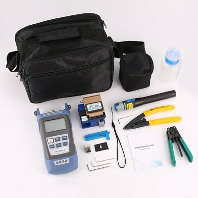 FTTH Fiber Optic Tool Kit Fiber Cleaver Optical Power Meter Wire Stripper GH