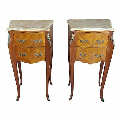 Antique French marquetry Petit Commodes w/Marble top - a Pair