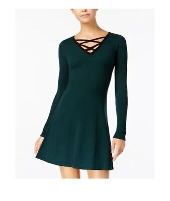 1df0a913e06 NWT BCX LACE Up Sweater Dress Forest Green Juniors S -  21.99