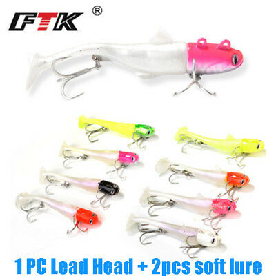 Shad fly fishing worm  sea Soft  bass Bait Minnow Lure Lead Head hook T Tail