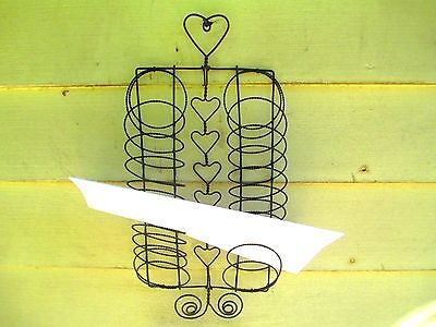 ANTIQUE wire LETTER HOLDER primitive Heart Design OFFICE / KITCHEN wall hanging