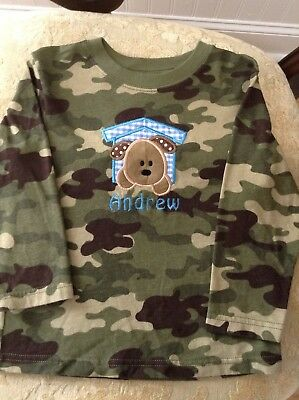 Monogram Embroidered Name Andrew Dog Camo Boys Size 3T Long Sleeve Shirt