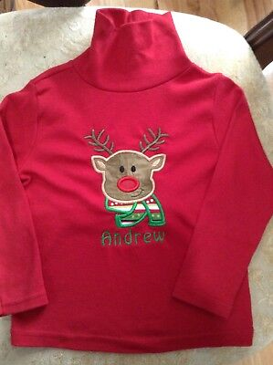 Christmas Reindeer Monogram Embroidered Name Andrew Long Sleeve Shirt Boys 3T