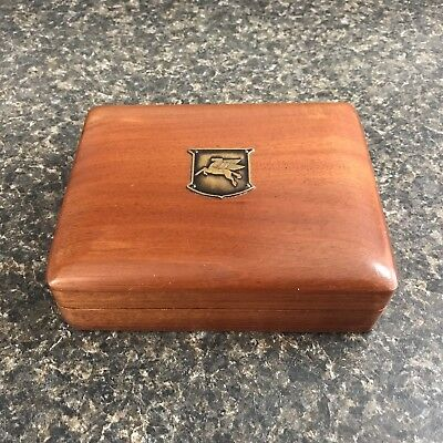 Vintage Double Deck Set of Mobil Oil Pegasus Playing Cards In Wood Logo Case