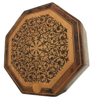 Old 19thC French 2nd Empire Boulle Victorian Inlaid Wooden Marquetry Octagon Box