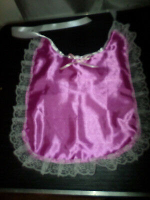 Deep Pink Satin   Adult Baby Sissy Bib Lace Trimmed Satin Ties Plastic Backed