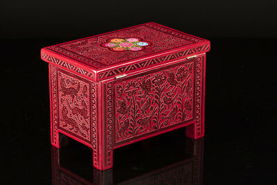 OLINALÁ BOX etched & painted in red on red small trunk chest Mexican folk art