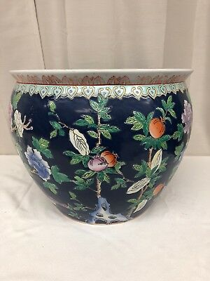 Large Chinese Famille Rose Porcelain Fish Bowl Planter Mgm32