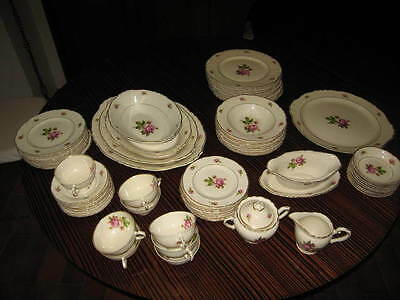 Vintage 1940 Syracuse China Victoria Rose Federal Shape Collection (79 Pieces)