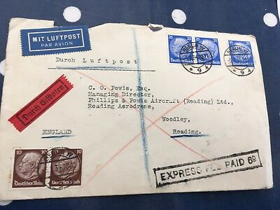 Germany Reich cover via airmail and ship with UK & German added cost, rare