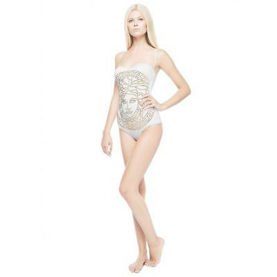 258874d1116 New Versace White One Piece Swimsuit with Gold Studded Medusa Size 2