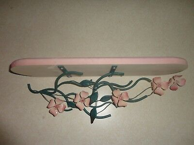Home Interiors ''Pink Metal Flowers & Wood Shelf  ''Gorgeous  17.5'' x 5''