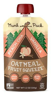 Munk Pack Oatmeal Fruit Squeeze | Peach Chia Vanilla, Ready-to-Eat Oatmeal, 6 ct