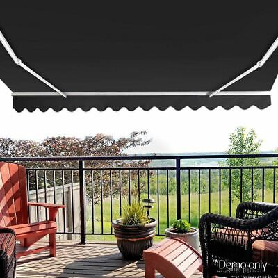 Retractable 4.5M x 2.5M Outdoor Folding Arm Awning Grey Sun Shade Canopy