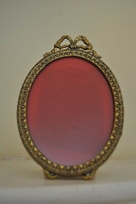 Vintage Solid Brass Ornate Oval; Bow Topped Footed Easel Picture Frame Italy