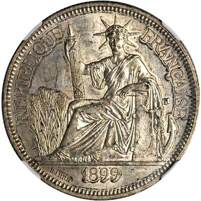 1899 A French Indo China 1 Piastre, NGC MS 62, Vietnam, Cochin, KM 5a.1