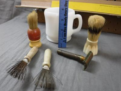 Vintage Antique Shaving Set Kit Gillette Razor Stanley Ever ready Brush 2 Metal