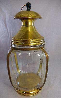 "Vintage Large 10"" Square Melon Glass Tobacco Jar Humidor Lantern Shaped Brass"