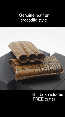 FREE Cutter W COHIBA Brown Leather Croco Cigar Travel Holder Case 3 Tube