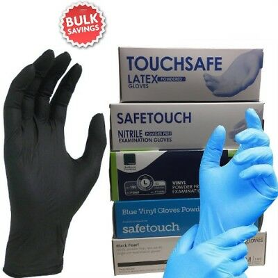 Medical Grade Disposable Latex, Nitrile or Vinyl Gloves Powder Free - 100 Boxed