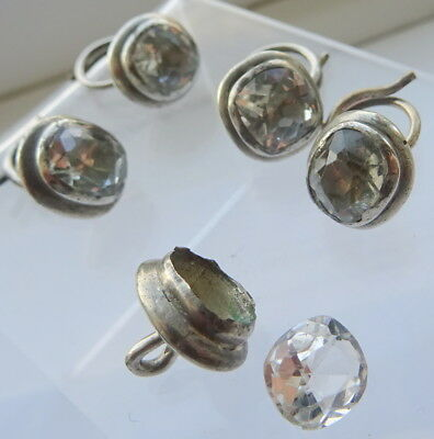 Antique Georgian Silver and White Sapphire Buttons x 5 1 damaged for re-use