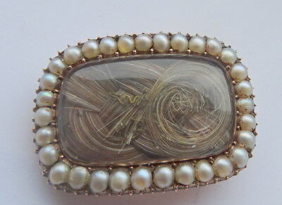 Georgian 15ct Gold and Seed Pearl Mourning Brooch Husband and Wife 1810