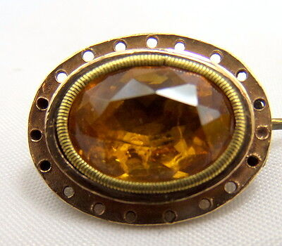 Antique Georgian 15 + 18 ct Gold and Foil back Paste Brooch circa 1720