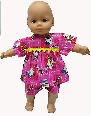 Hot Pink Kitty Shorty Pyjamas For 15-41cm Baby Dolls. Doll Clothes Super store