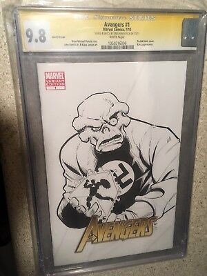 Avengers 1 Cgc 9.8 Ss Sketch By Kirkpatrick Of Red Skull And Cosmic Cube