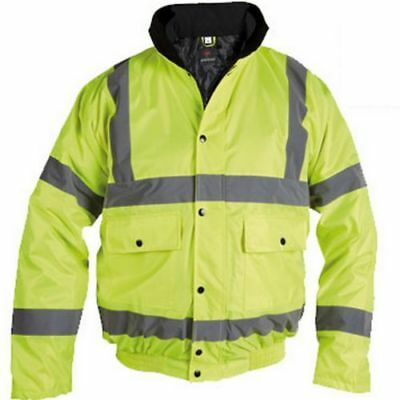 B00164-050, yellow hi vis bomber jacket with collar and concealed hood