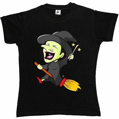 Spell Casting Witch Riding Broomstick In Sky Womens Boyfriend Fit T-Shirt
