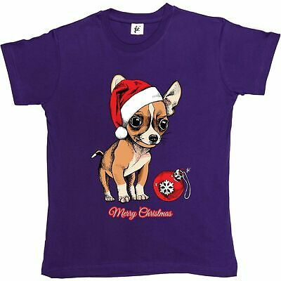 Chihuahua Puppy Wearing Santa Hat With Xmas Bauble Womens Boyfriend Fit T-Shirt