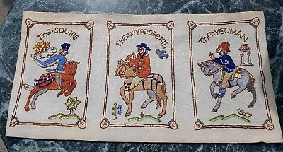 Vintage Embroidery Sampler - Canterbury Tales - Includes Gilt Frame