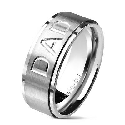 """Mens DAD Ring Stainless Steel Silver Message """"Love You Dad"""" 8mm Gift Christmas"""