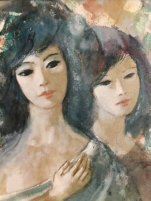 "Nathan Wasserberger ""Portrait Of Two Beauties"" Original Oil Painting On Canvas ."