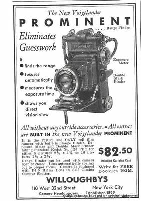 1933 Voigtlander Prominent Camera Vintage Print Ad $82.50 Including Case s