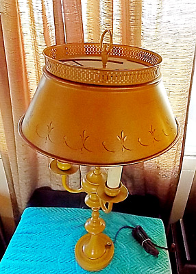 Vintage French Country Tole Metal Table Lamp Antique Gold w/  Black-Gold Design