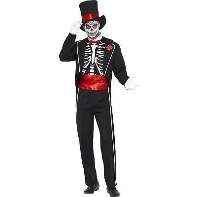 Halloween Day Of The Dead Suit Hat Skeleton Adults Mens Fancy Dress Costume
