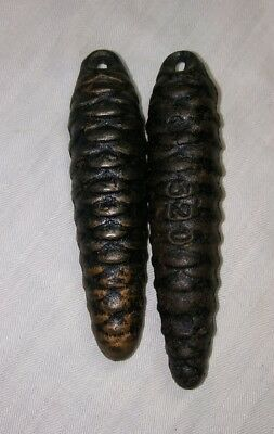 2 Antique Cast Iron Cuckoo Clock Weights - Germany Black Forest - 275 & 320