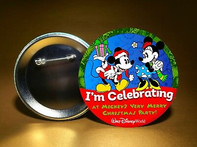 "MICKEY'S VERY MERRY CHRISTMAS PARTY-at Disney World-3"" PIN BACK BUTTON-FREE SHIP"
