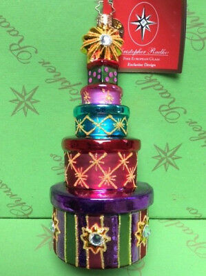 Christopher Radko Holiday Stacked Glass Ornament