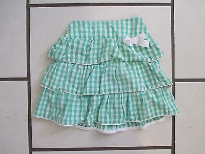 Girls 4T The Childrens Place Green White Gingham Checked Tiered Skirt Layered