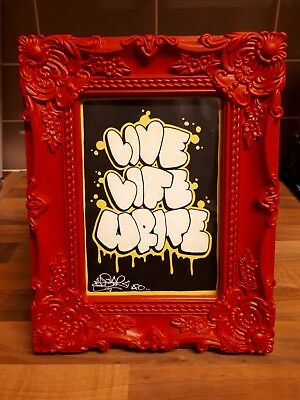 "Original framed graffiti art by Pyestar 7""x5"" street graff Banksy Warhol"