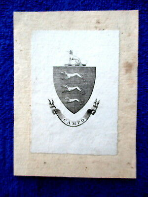 CAMPO Bookplate Family Crest & Coat of Arms